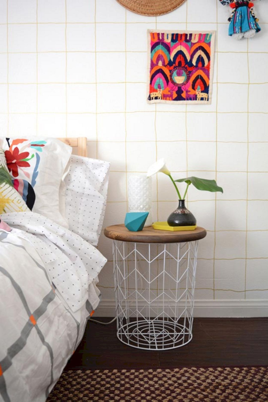 Transform a basket into a nightstand Spectacular DIY Ideas To Create Foremost Dorm Room Décor