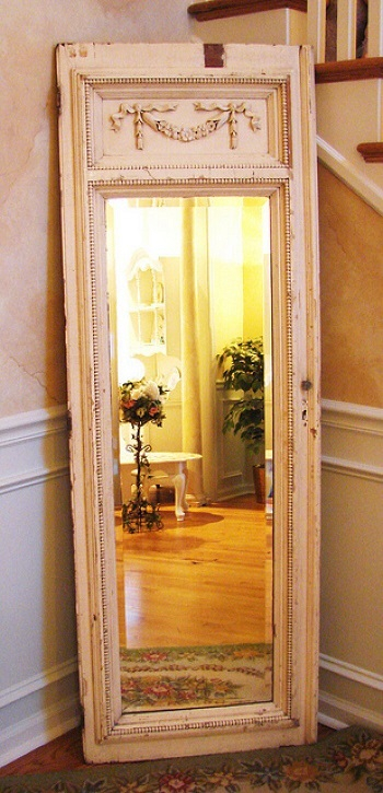 Classical panel framed full-length mirror Innovative DIY Ideas Of Reuse Old Doors For Useful Item Projects
