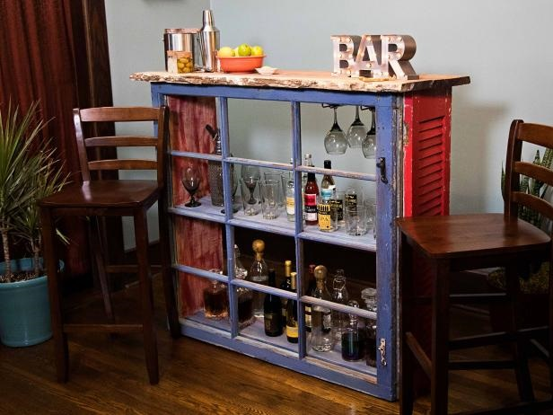 Diy bar from an upcycled window DIY Out Of The Box Ideas Repurposing Old Windows For Best Furniture