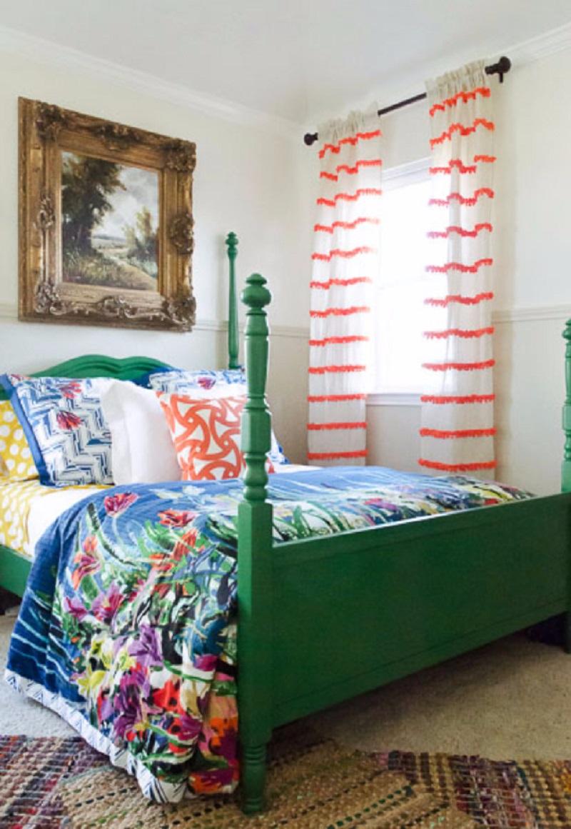 Diy embellished stripe curtains