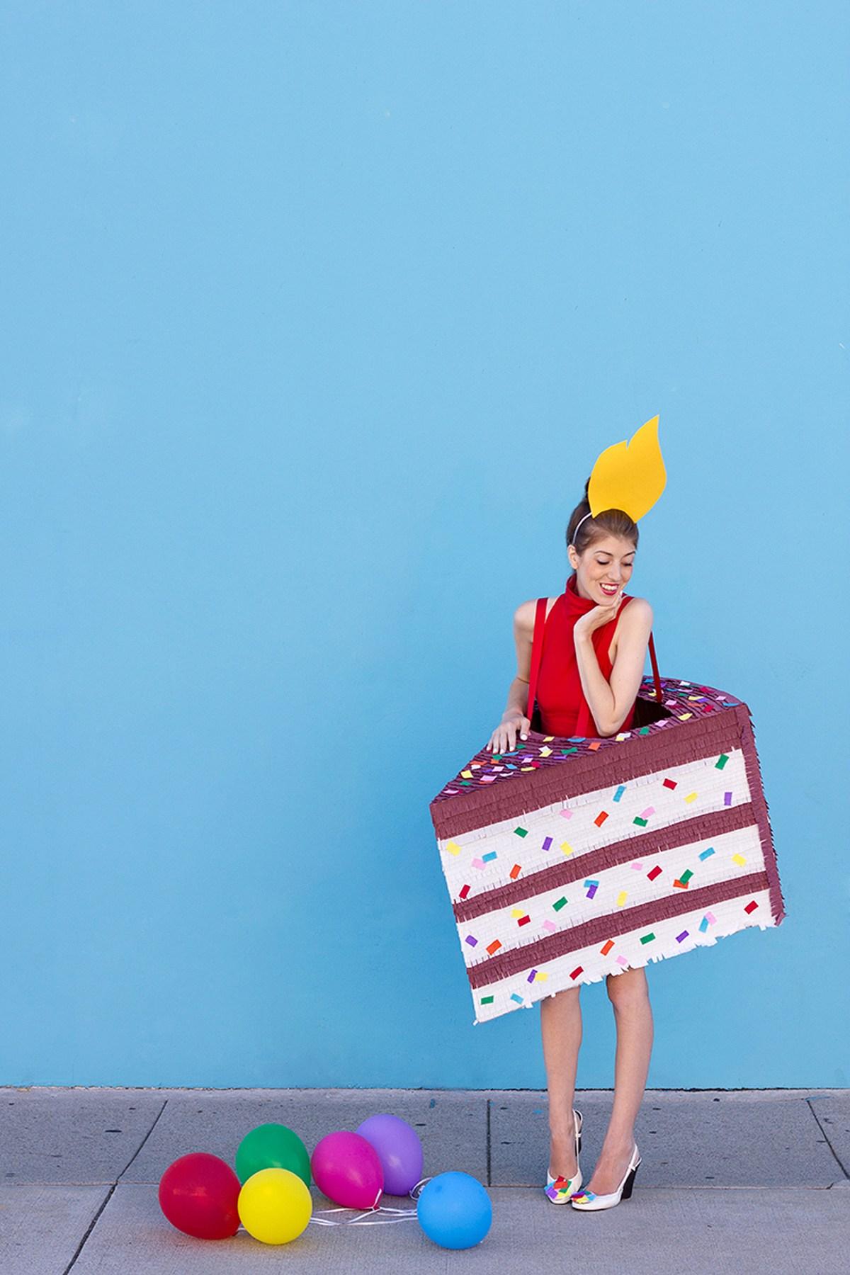 Delicious birthday cake slice DIY Tantalizing Food Costume Ideas To Have Tempting Halloween Celebration