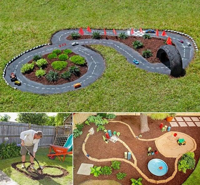 Garden race track ideas DIY Garden Ideas To Serve A Playhouse For Your Family Member