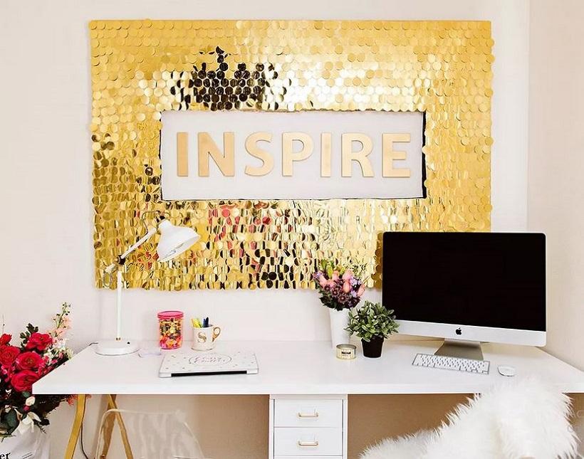 Golden sequins wall art