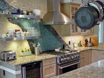 Gorgeous mosaic backsplash