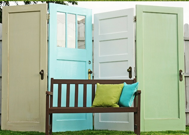 Outdoor privacy screen using old doors Innovative DIY Ideas Of Reuse Old Doors For Useful Item Projects