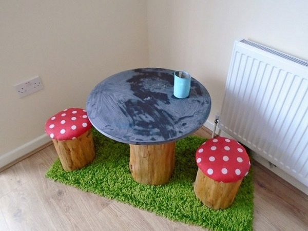 Tree trunk and toadstools table DIY Easy Build Kids Table And Chair Ideas That Not Require Skill Level