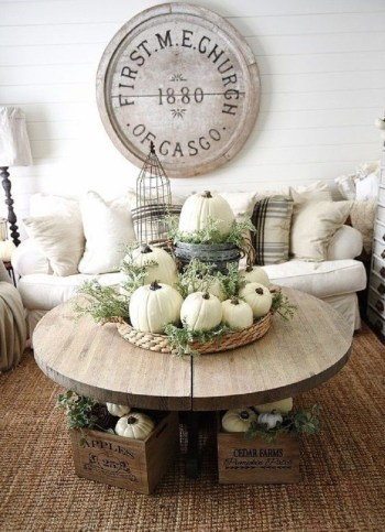 Basket tray with greenery for fall decor