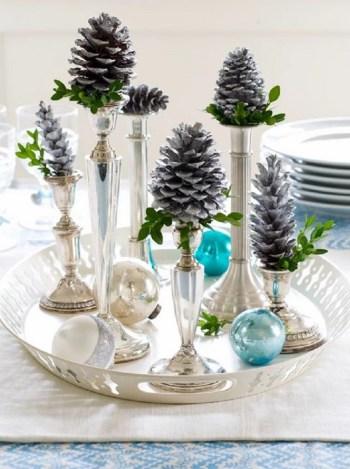 Beautiful winter pinecone display