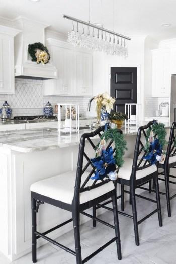 Blue christmas kitchen island decor