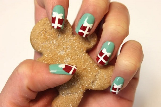 Gift box nail art DIY Marvellous Christmas Nail Art Ideas To Let Your Nails Shining All Day