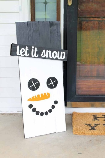 Holiday snowman sign DIY Snowman Decoration Ideas To Serve Magic In Every Corner Of Your Home