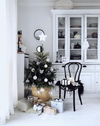Kitchen with a simple christmas tree