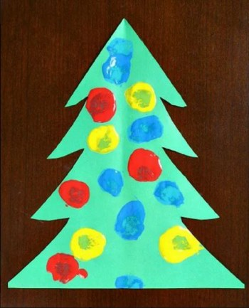 Pom-pom painting christmas tree