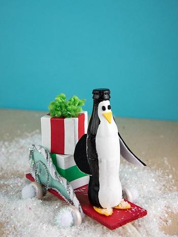Pull-along bottle penguins DIY Winter Wonderland Animal Crafts To Having Fun Every Second This Season