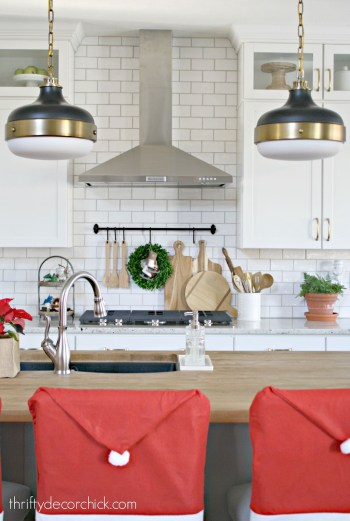 Santa clause chair backs in the kitchen
