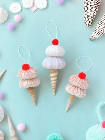 Seashell ice cream ornament diy