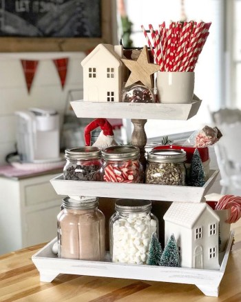 Simple farmhouse hot cocoa tiered stand