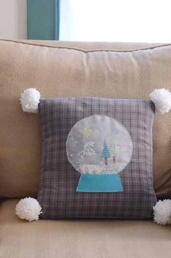 Snow globe pillow DIY Adorable Christmas Pillows To Liven Up Your Home This Year