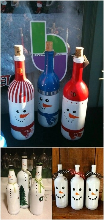 Snowmen painted bottles DIY Creative Wine Bottle Craft Ideas For Christmas Spirit That Anyone Will Adore