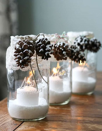 Snowy pinecone candle jars DIY Winter Decoration To Transform Your Home Into Snowy Magic