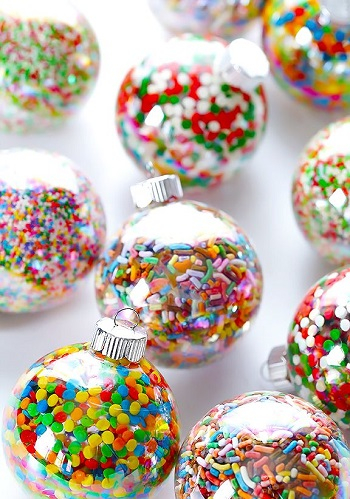Sprinkle confetti ornament DIY Festive Christmas Ornaments To Give You A Stunning Look In Every Home Corner