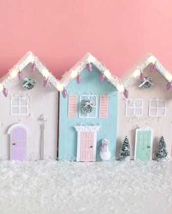 Wooden christmas row houses with lights DIY Charming Rustic Christmas Wood Projects For Your Amazing Home