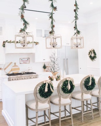 Wreaths on the back of kitchen bar chairs
