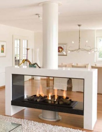 An ethanol fireplace with faux firewood