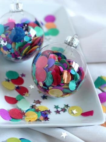 Confetti-filled ornament balls