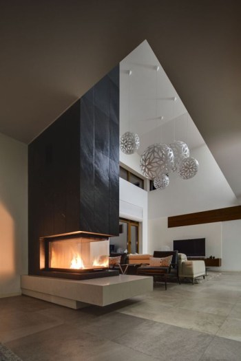 Fireplace in black and white