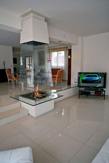 Fireplace with a metal frame