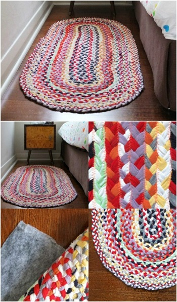 Braided t-shirt rug DIY Easy To Copy Plus Low Budget Rug Ideas To Warm You Up This Winter