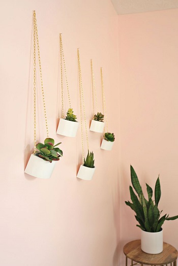 Gold chain hanging planters Pleasant Indoor Garden Ideas To Cure The Winter Blues This Season