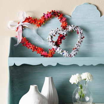 Puzzle hearts for winter