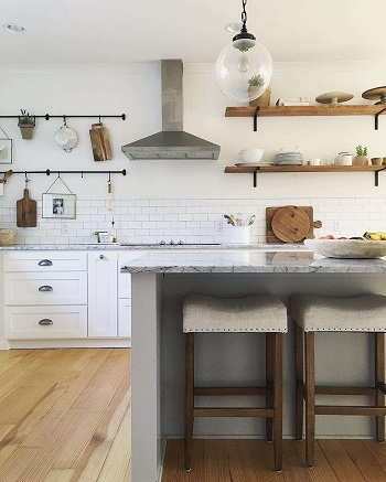 Open shelving featuring hanging store Easiest And Effective Ways To Do To Update Kitchen Shelving Design You Should Know