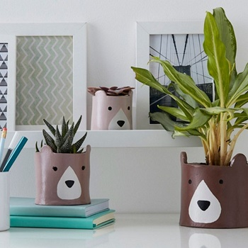 Bear plant pots Funny Weekend DIY Project To Keep You Out Off Boring