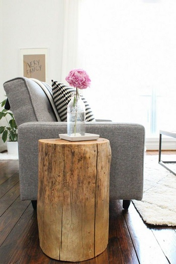 Diy ombre stump side table Stylish Comfortable DIY Project For Your Entertaining Living Room
