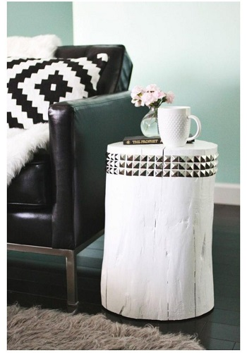 Diy studded tree stump side table Suit DIY Side Table Ideas To Win Your Heart