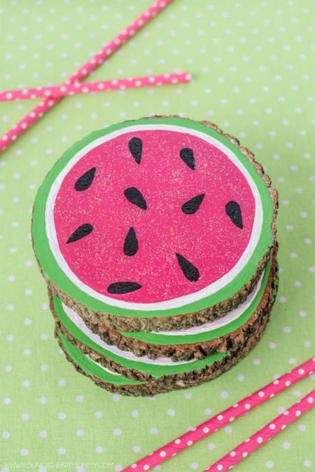 Diy wooden watermelon coasters