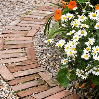 Garden path or edge a border with old bricks Funny Weekend DIY Project To Keep You Out Off Boring