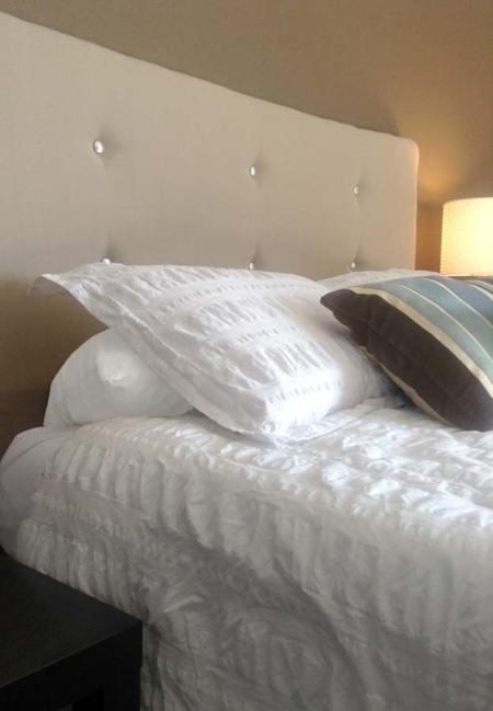 Handmade contemporary upholstered headboard