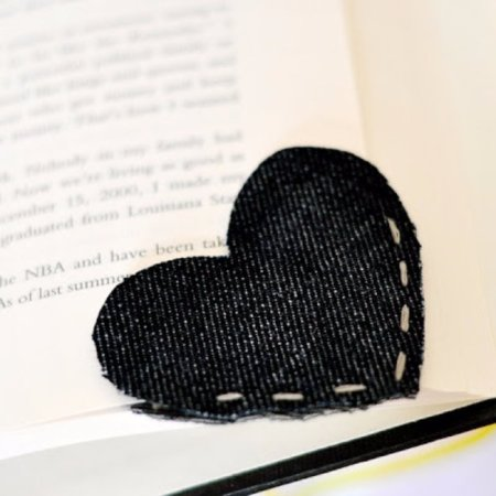 Heart bookmark from old jeans
