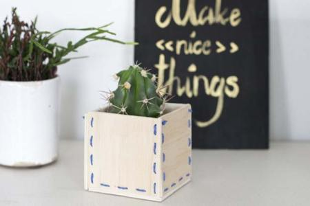 Inspiring diy wooden stitched planter