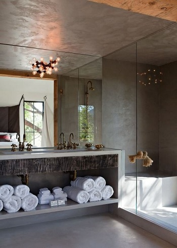 Minimal bathroom with diy light fixture Exhilarating DIY Ideas To Create Amazing Look For Bathroom