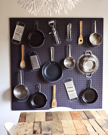 Pegboard pot rack idea DIY Pot Racks To Create As Your Kitchen Highlight Exhibition