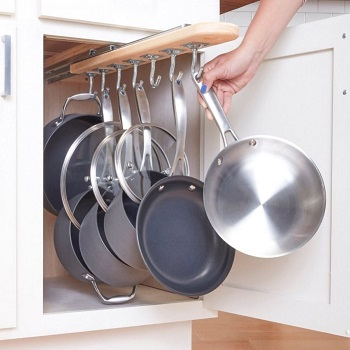 Pull-out pot rack DIY Pot Racks To Create As Your Kitchen Highlight Exhibition
