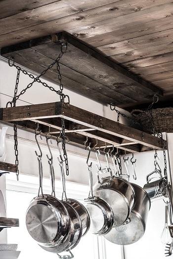 Scrap wood pot rack DIY Pot Racks To Create As Your Kitchen Highlight Exhibition
