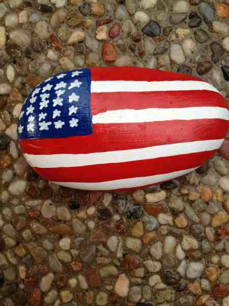 Usa flag painted rock