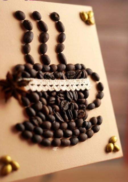 Coffee bean art piece