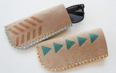 Boho style leather sunglasses case